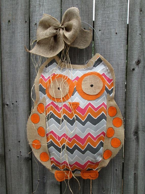 Owl Burlap Door Hanger Door Decoration Mixed Media Chevron Pattern
