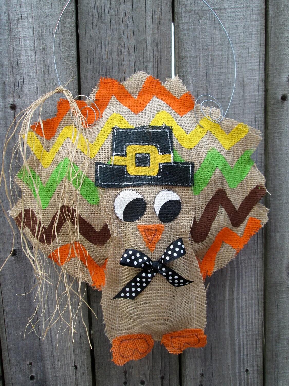 Thanksgiving Turkey Burlap Door Hanger Door By Nursejeanneg