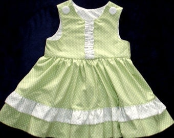 Green and White Polka Dot Double Ruffled Dress and Purse  Set - Toddler Girl Size 1T