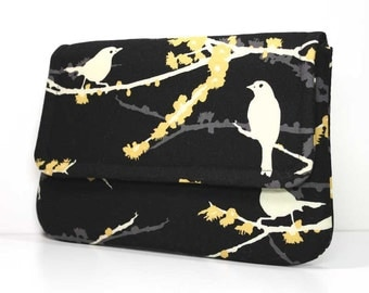 Clutch Purse - Cream Sparrows on Black with 2 Pockets - Joel Dewberry Fabric