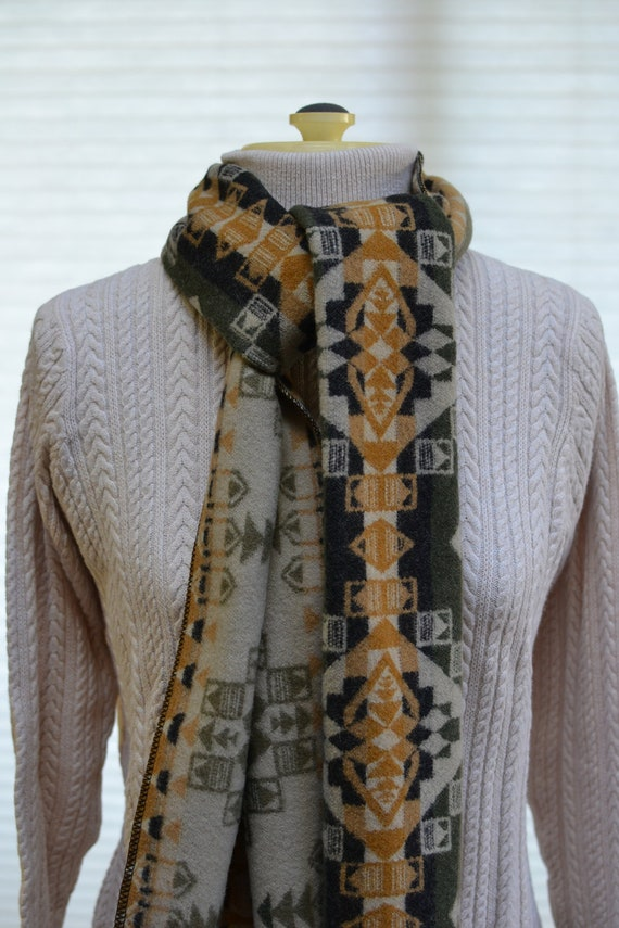 Native American Print Wool Scarf Mens Or Womens Accessories