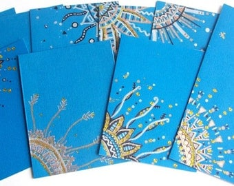 Hand Drawn Blue Note Cards Set Of Five Envelopes included