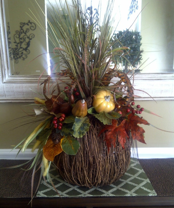 Fall Feather Rustic Pumpkin Floral Arrangement By