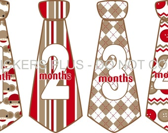Monthly Baby Stickers Baby Boy Neck Tie Necktie Stickers Sock Monkey Brown Red Stripes Argyle 1-12 Month Shower Gift Baby Age Sticker