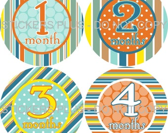 Monthly Baby Boy Milestone Stickers PRECUT Bodysuit Precut Baby Month Growth Sticker Plus FREE Gift Stripes Dots Blue Orange Green Yellow