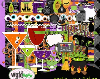 """Halloween Digital Scrapbooking Kit """"Party on Witches"""" kit"""