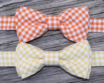 Yellow Bowtie -- Orange Bowtie -- Easter Ties for Boys -- Yellow Gingham Tie