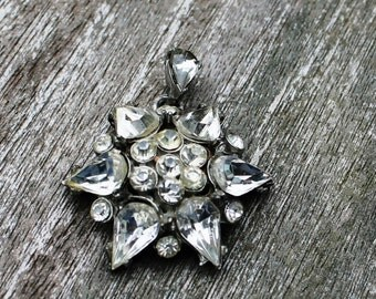 Vintage Rhinestone Pendent in Silver- Edward Stempa