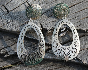 Silver Floral Cut Earrings