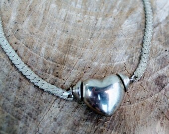 Vintage Silver Puffy Heart on Herringbone Necklace