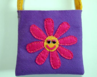Little Girls Felt Purse  Flower Bag, purple flower bag or purse, pink and yellow flower, Handmade felt flower bag