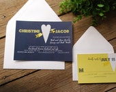Wedding Invitation - Navy Blue and Yellow with Hearts - birdhousestationery