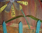 3 D flowers original watercolor wood and paper sculpture