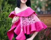 Pink lace Handmade felted wrap shawl capelet