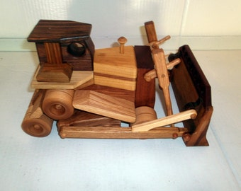 Construction grade bulldozer in wood handcrafted