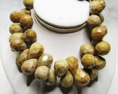 2 Pairs, Sparkly Picture Jasper Faceted Teardrops - Natural Color Semi Precious Gemstone Briolettes - approx. 12x9mm