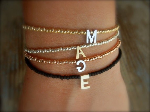 PERSONALIZED Tiny Delicate Black & Single Gold Letter Friendship Bracelet (Can be made in any colour)