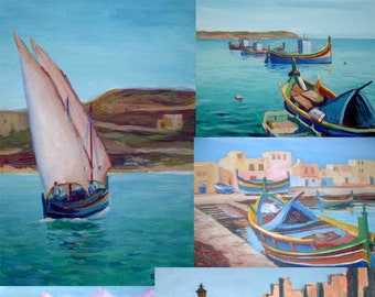 Malta coloured art print of Maltese Boats