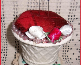 BISQUE Porcelain SILK and SATIN Pincushion White Basket Heirloom Handmade