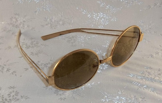 Vintage Hippie SUNGLASSES Ray Ban  and CASE Original Gold Lennon Joplin Round 1960s and CASE