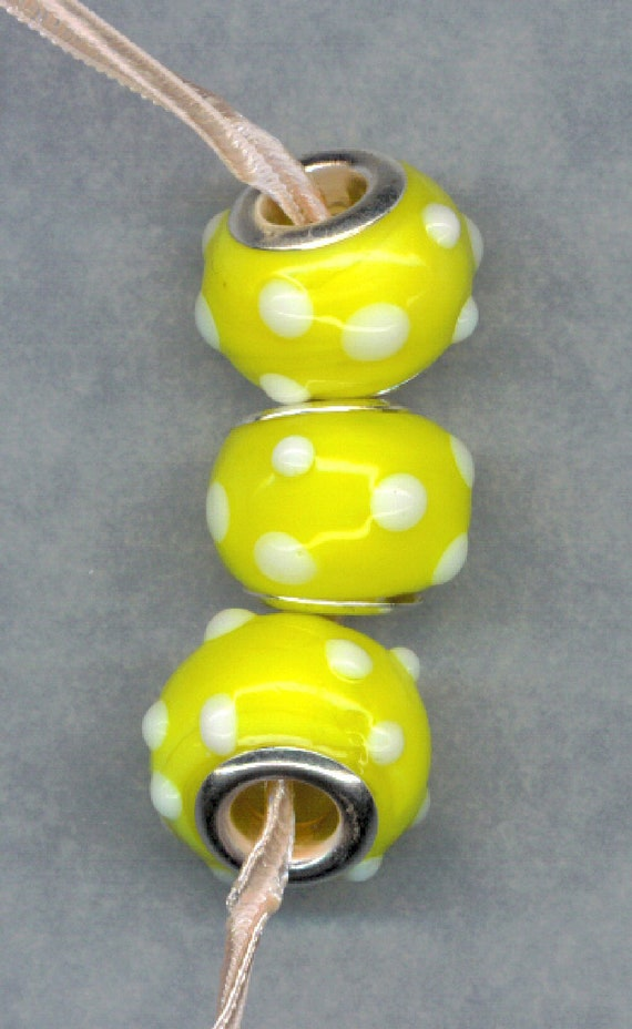 Lampwork Murano Beads Lemon YELLOW White polka Dots Silver Core Glass Lot 3