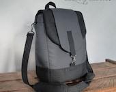 Customizable laptop bag / Dark and Medium gray / Convertible Backpack / Rucksack / laptop Compartment / Messenger bag Cross-body bag