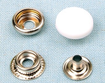 20 sets metal snap fasteners buttons 15 mm for clothing, diary, leathercraft etc - White plastic cap