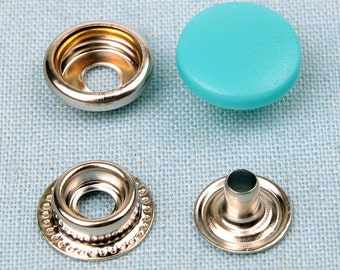 20 sets metal snap fasteners buttons 15 mm for clothing, diary, leathercraft etc -mint blue plastic cap
