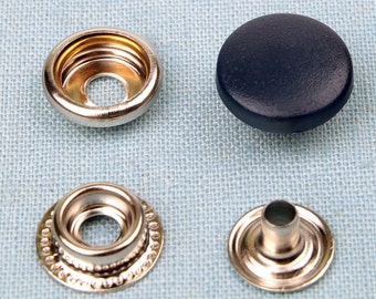 20 sets metal snap fasteners buttons 15 mm for clothing, diary, leathercraft etc -dark blue plastic cap