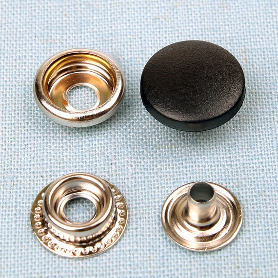 Black plastic cap 20 sets metal snap fasteners buttons 15 mm
