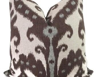Brown and Aqua Marrakesh Ikat Designer Pillow Cover, Square or Lumbar Pillow, Accent Pillow, Throw Pillow