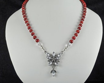 New Reduced Price -  Fancy Glass and Metal Pendant and Red Coral Necklace Set