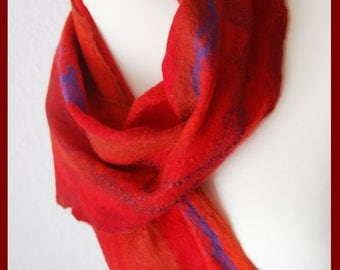 Felted scarf, felt scarf red and blue , scarf with natural silk, cobweb scarf