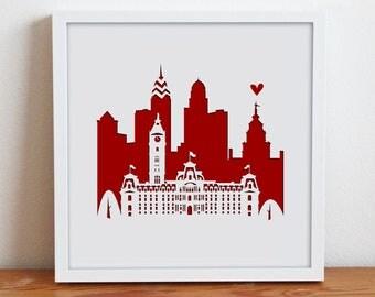 "Philadelphia, PA. 11""x14""Personalized Gift or Wedding Gift"