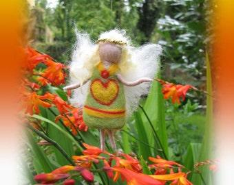 Mia - Needle Felted Wool guardian angel, Waldorf inspired fairy doll, wool