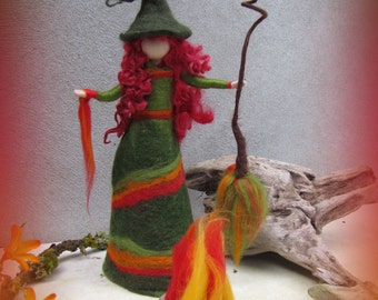 Lovis - felted witch, neddle felted and wet felted