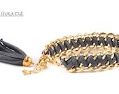 As seen in Redbook Magazine- Leather Braided Bracelet-Gold Bulk Chain Leather Bracelet-ECO Friendly Jewelry