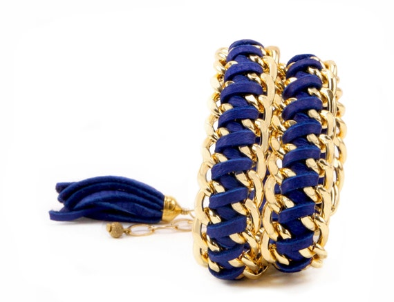 Cobalt Leather And Chain Double Wrap Bracelet With A Tassel - ECO friendly jewelry
