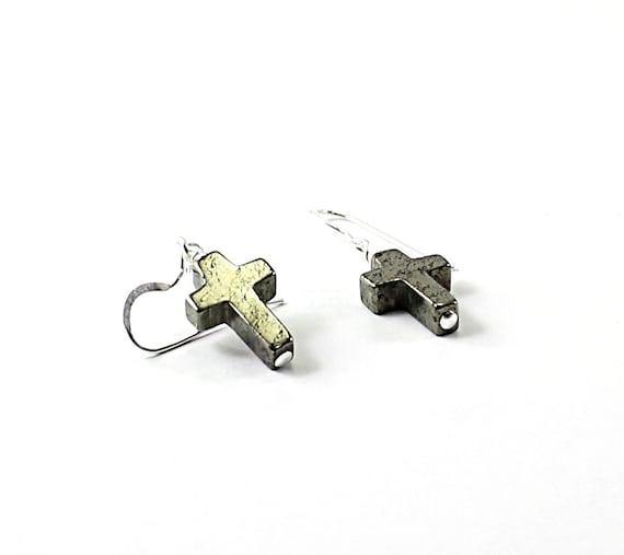Pyrite stone cross earrings: Christian earring, sterling silver religious jewelry, silver cross earrings Christian jewelry