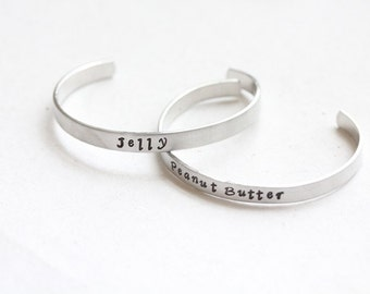 "Handstamped ""Peanut Butter"" and ""Jelly"" Best Friends Cuffs"