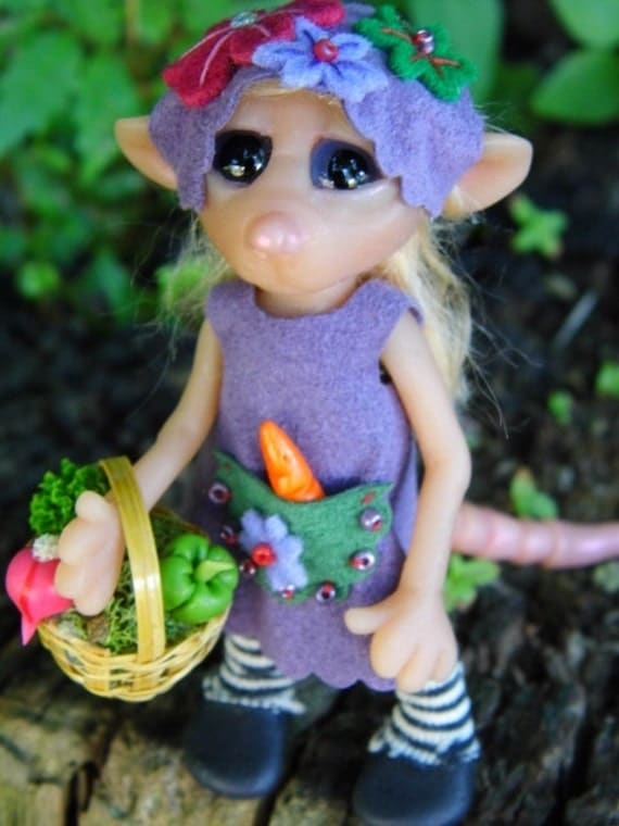 "OOAK Handmade Polymer Clay Poseable Woodland Mouse ""Tillie"" Fantasy Art Doll (RESERVED  For Sowmya)"