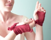 Bridal bow mittens Burgundy red chiffon silk OOAK by Jye, Hand-made in France