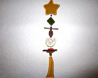 Amber Glass Star Sunspot Suncatcher
