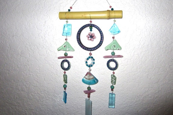 Recycled Bottle, Stained Glass and Bamboo Wind Chime