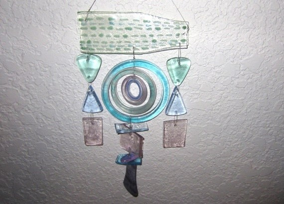 Windchime - Turquoise, Cerulean,  and Lavender from Recycled Glass