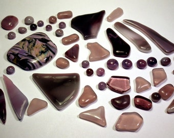 Pink to Purple Recycled Glass Kiln Formed Cabs or Mosaic Tiles 50 Pieces (457)