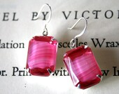 Clearance - Hot Pink Givre Vintage Glass Jewels, Silver, Neon, Pop of Color, Striped, Bright Pink Earrings