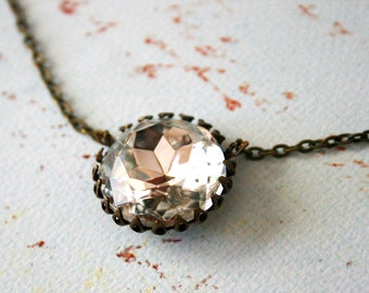 Vintage Days Necklace || White Crystal Vintage Glass Necklace, Oxidized Brass Necklace, Kings Crown Setting, Round Pendant Necklace