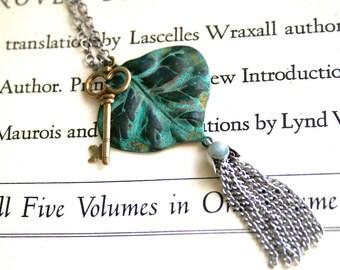 Verdigris Leaf Necklace || Patina Necklace, Chain Tassel Necklace, Key Charm, Oxidized Silver Necklace, Green Necklace