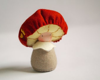 Whimsical fely doll, mushroom. Toadstool, soft sculpture, Creative plaything, Imaginative play - Auntie Frizal